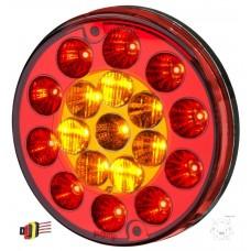 Lanterna Traseira LED 12V Multifuncao Universal Carretas Implementos Carretinhas Vermelha e Amarela