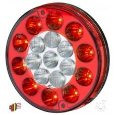 Lanterna Traseira LED 12V Multifuncao Universal Carretas Implementos Carretinhas Vermelha e Cristal