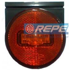 Lanterna Lateral LED 24V Carreta Guerra Com Suporte Fixo e Plug Original Amarela