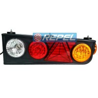 Conjunto Lanterna Traseira LED Carretas Semi Reboques Implementos Randon Com Triangulo Lado Esquerdo